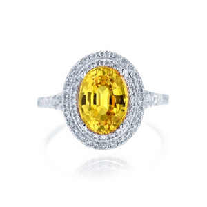 Oval Yellow Sapphire Double Halo Ring