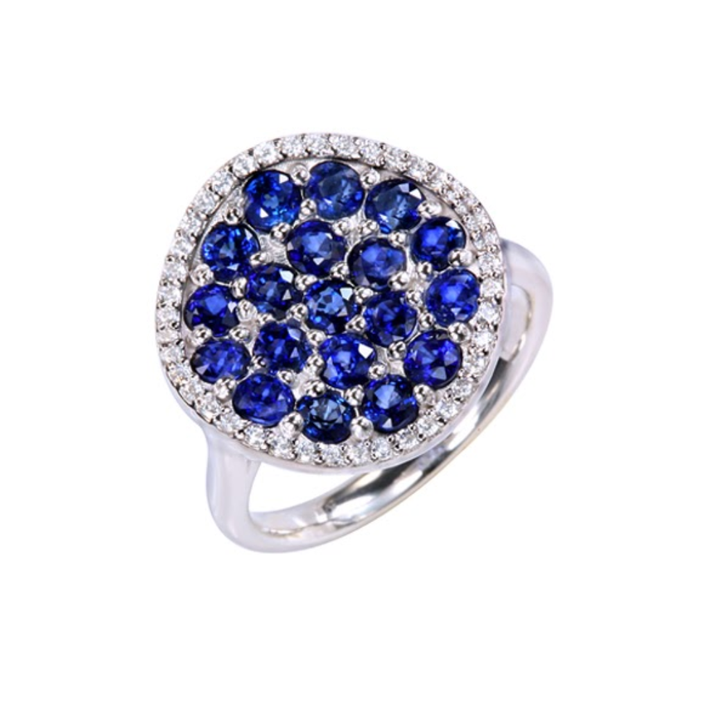 Diffusion Blue Sapphire Pave Ring