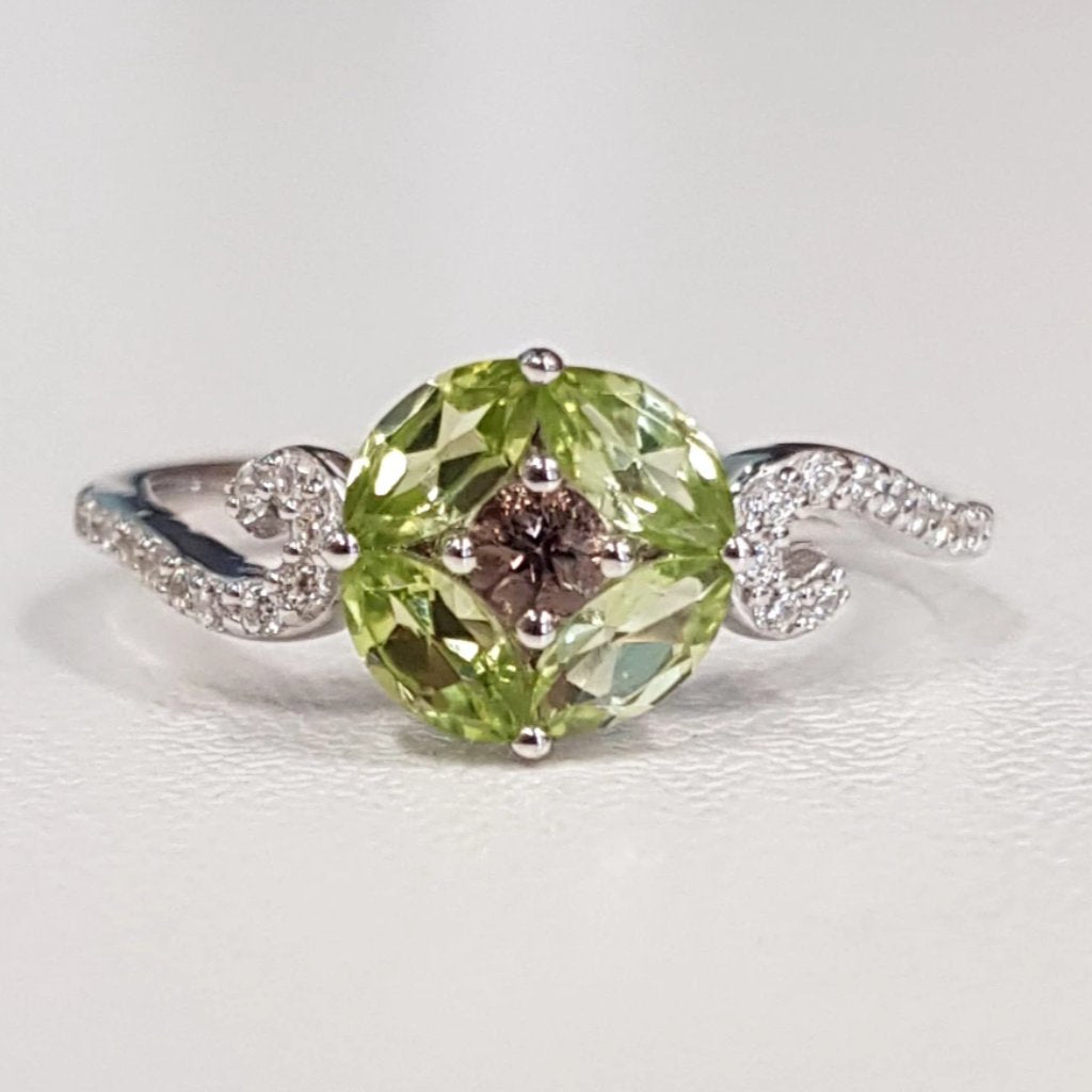 Peridot with Smoky Quartz Ring
