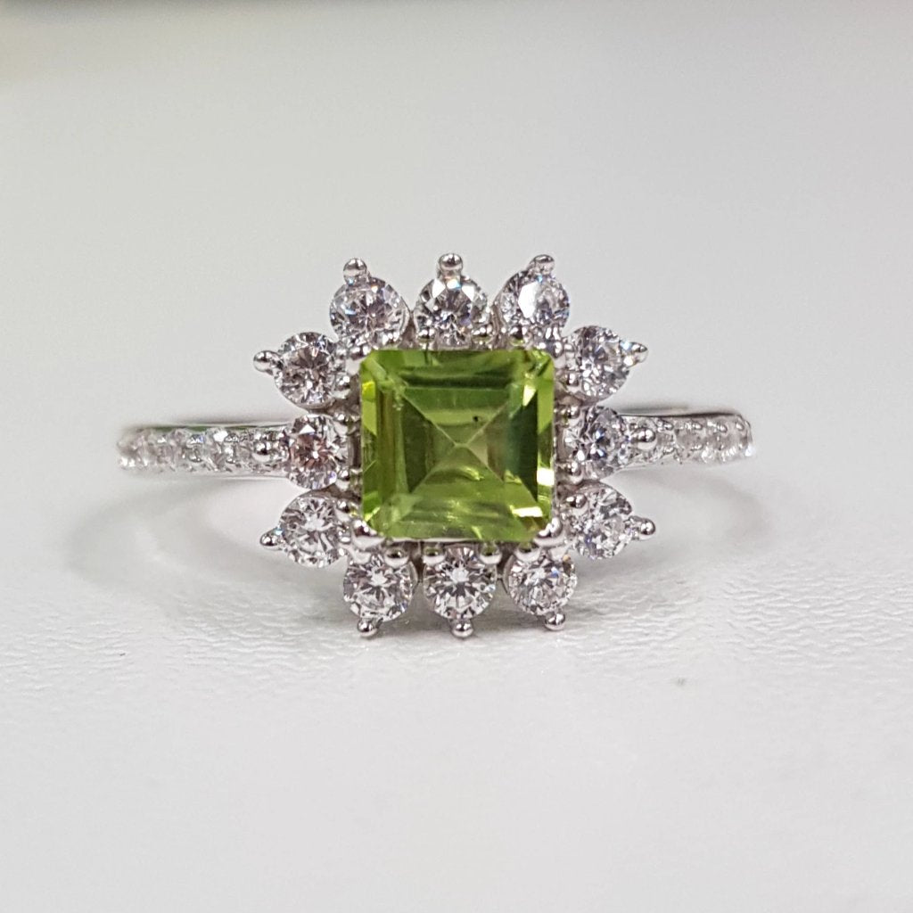 Peridot with White Zirconia: Square cut Ring