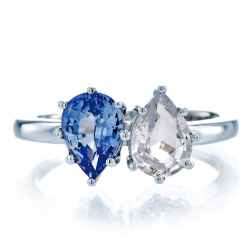 Blue and White Sapphire Pear Cut Ring