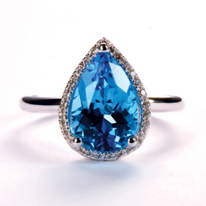 Pear Cut Blue Topaz Ring