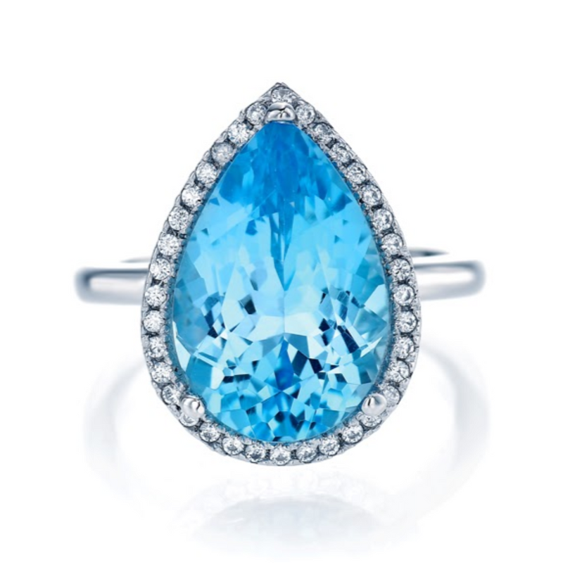 Pear Cut Blue Topaz (large) ring