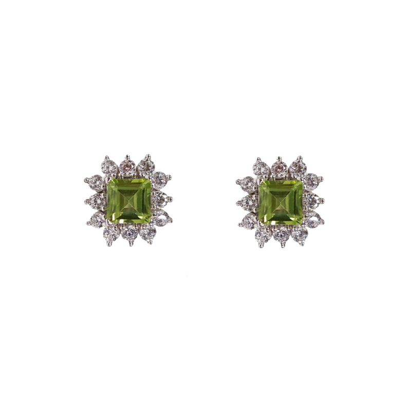Peridot with White Zirconia: Square cut Earrings