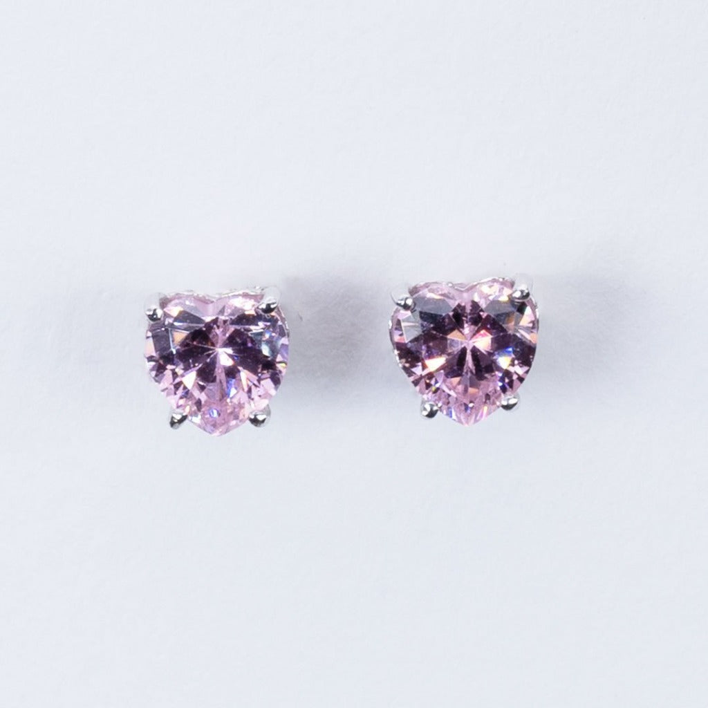 Pink quartz heart stud earrings
