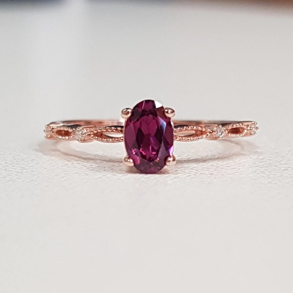 Rhodolite Princess Ring