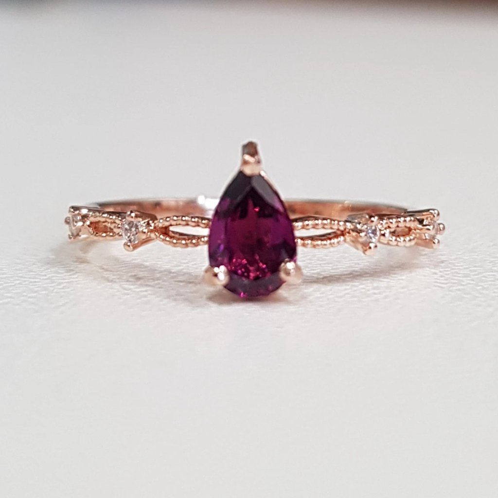 Rhodolite Princess Ring (pear cut)