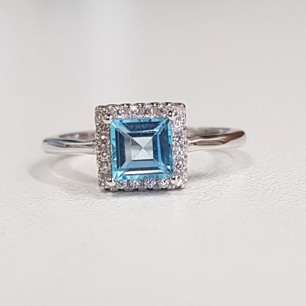 Swiss Blue Topaz Square Ring