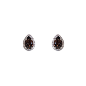 Smoky Quartz Pear Shape Fine Earrings