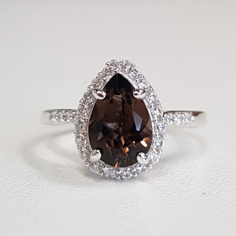 Smoky Quartz: pear-shaped Ring