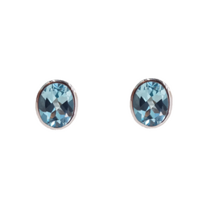 Top Sky Blue Topaz Bezel Earrings