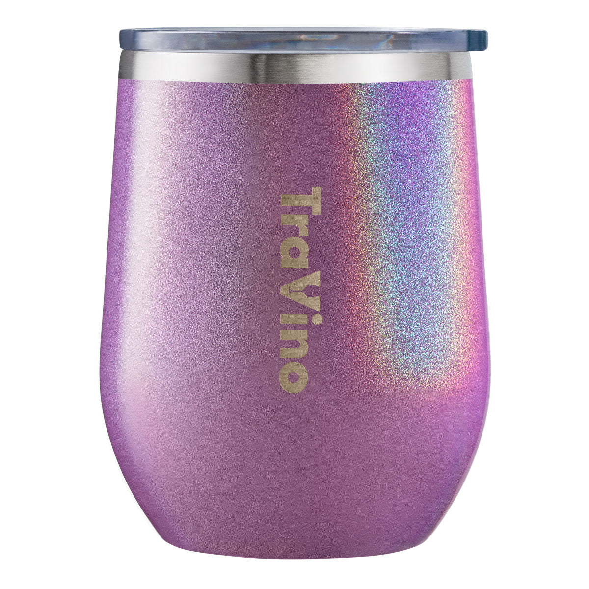 Stemless Vacuum Insulated Wine Tumbler - Glitter Iridescent Ultra Violet