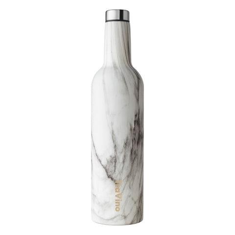 TraVino Insulated Wine Flask - 750mL - White Marble