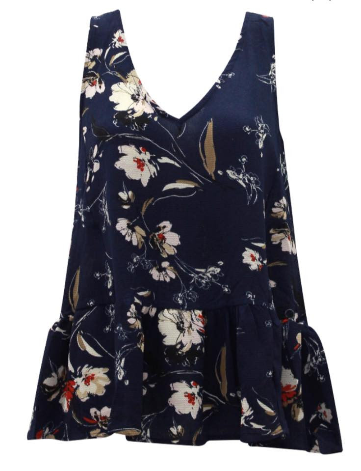 Ebby & I Navy Floral Frill Top