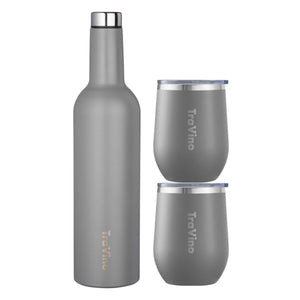 Flask & Stemless Set - Cement Grey