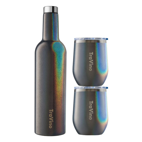 Flask & Stemless Set - Charcoal (Glitter)