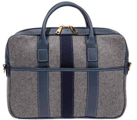 Grey Wool Navy Blue Briefcase