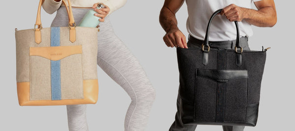 Man and Woman carrying White and Black Italian Wool Tote Bag