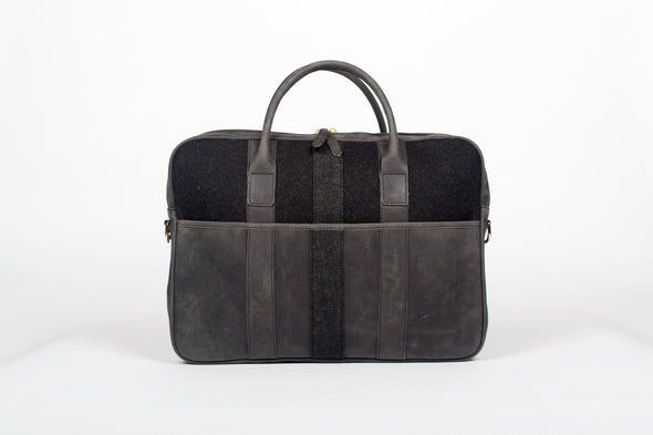 Leather Parliament Briefcase in Muted Black