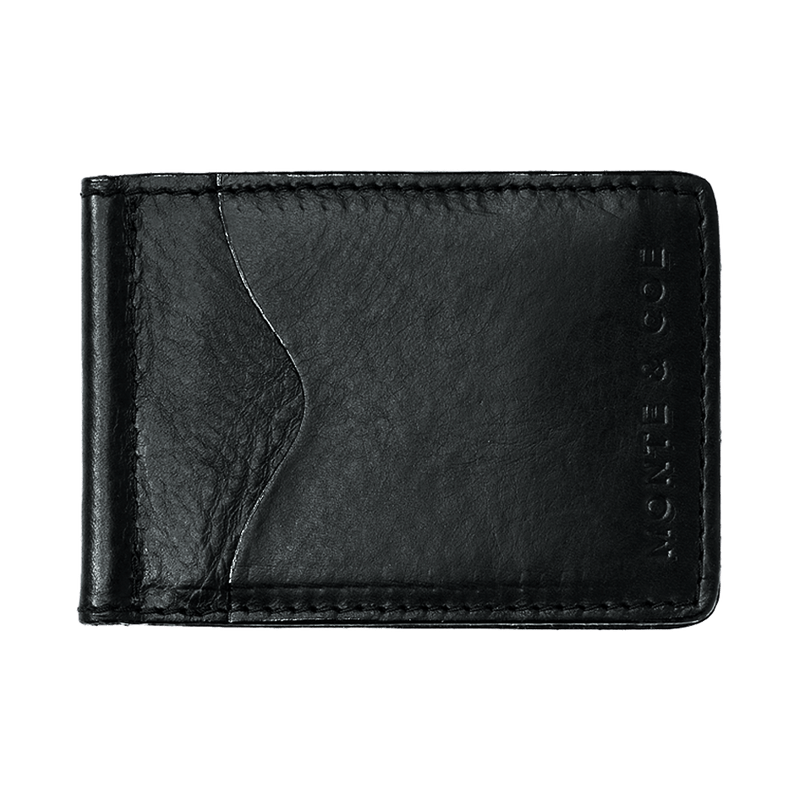 Slim Leather Wallet with Money Clip in Black