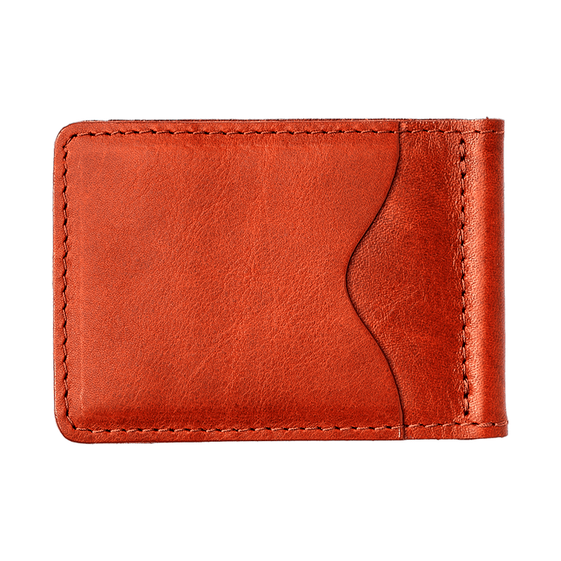 Slim Leather Wallet with Money Clip in Cognac