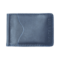 Slim Leather Wallet with Money Clip in Navy