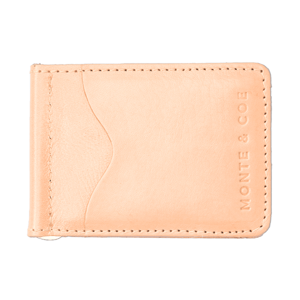 Slim Leather Wallet with Money Clip in Nude