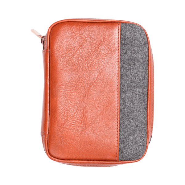 Leather Passport Holder in Cognac & Grey