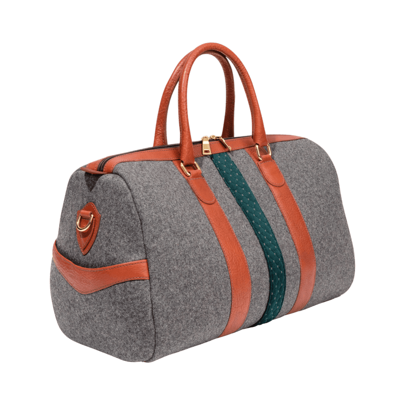 monte-and-coe-grey-and-cognac-wool-weekender-bag-side-angle