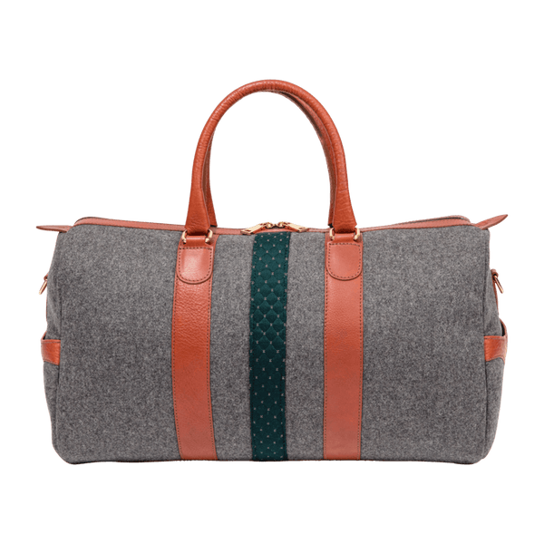 Wool Weekender Bag in Grey & Cognac