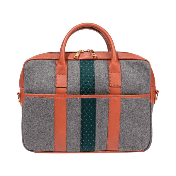 Wool Briefcase in Grey & Cognac