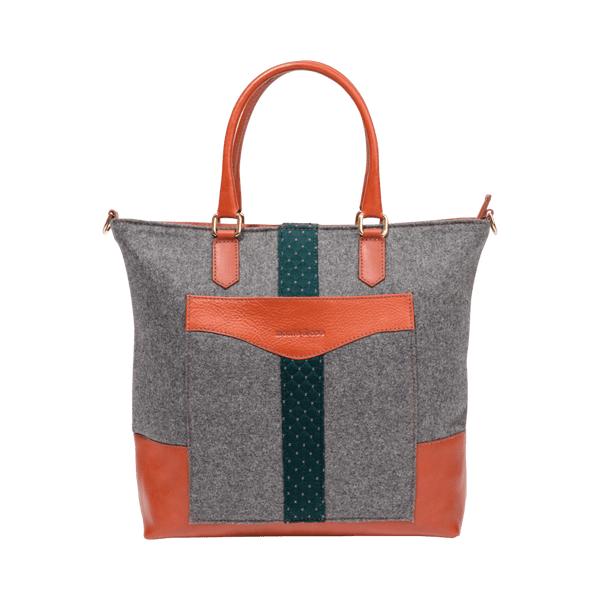 Daily Tote in Grey & Cognac