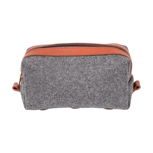 Wool Dopp Kit in Grey & Cognac