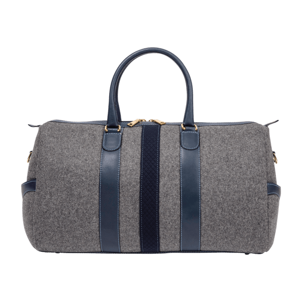 Wool Weekender Bag in Grey & Navy