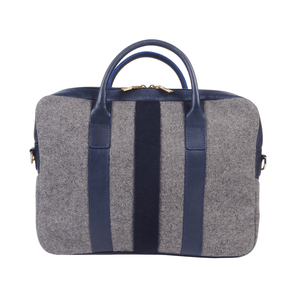Wool Briefcase in Grey & Navy