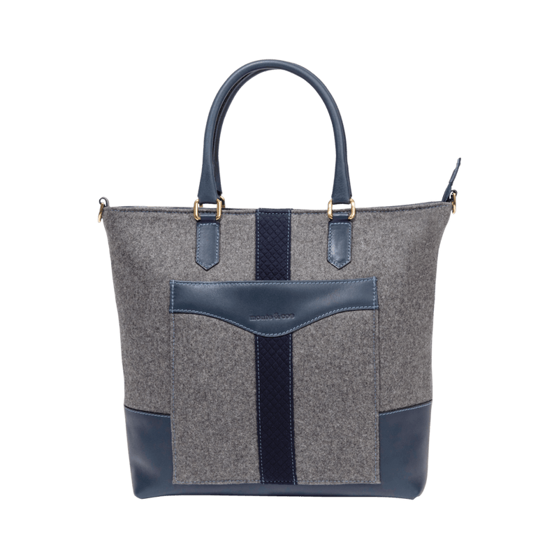 Daily Tote in Grey & Navy