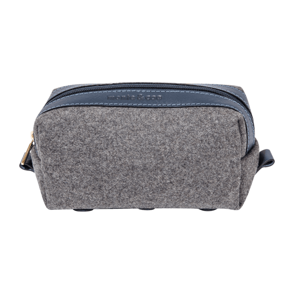 Wool Dopp Kit in Grey & Navy