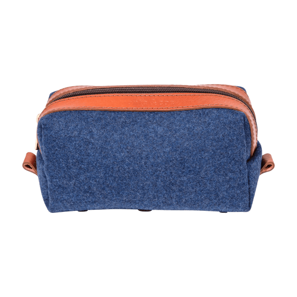 Wool Dopp Kit in Navy & Cognac