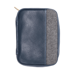 Leather Passport Holder in Navy & Grey