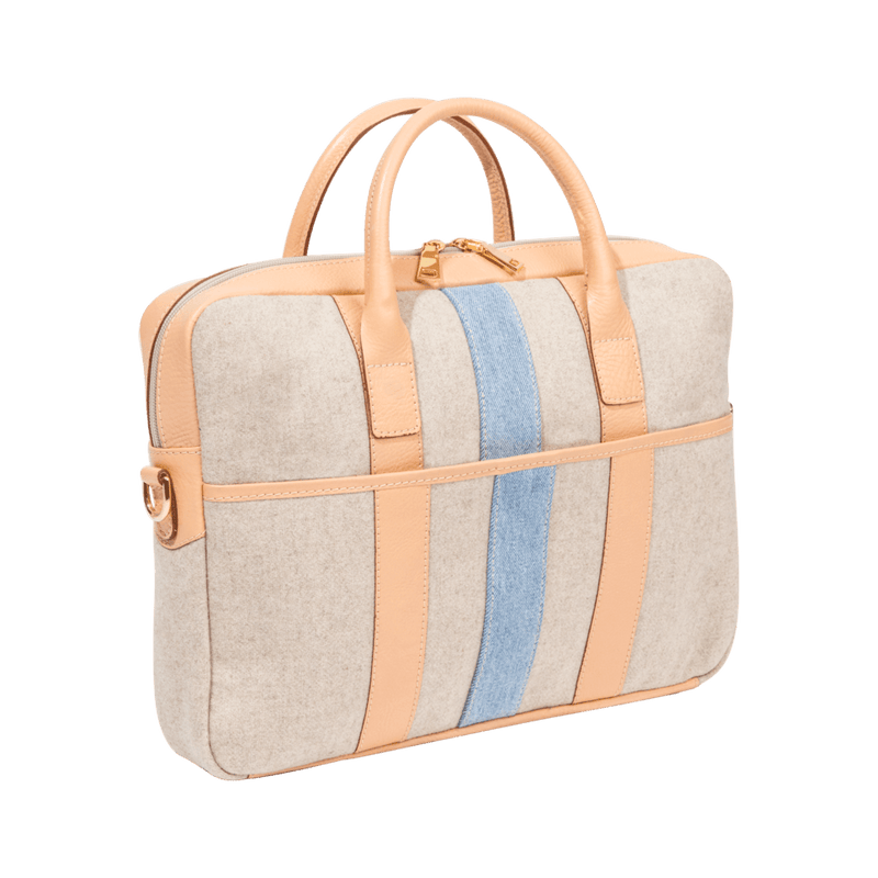 Wool Briefcase in Nude