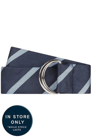 Navy Herringbone with Light Blue Stripe Silk Belt