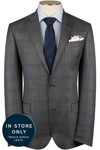 Mid Grey and Mariner Check Suit