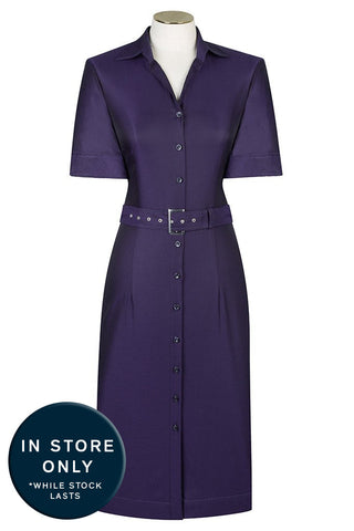 Plum Faille Shirt Dress