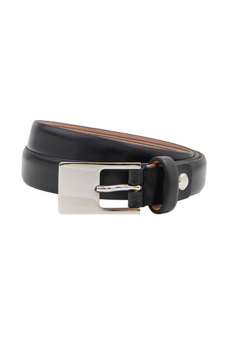 Slim Black Leather Belt