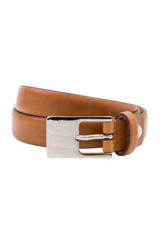 Slim Tan Leather Belt