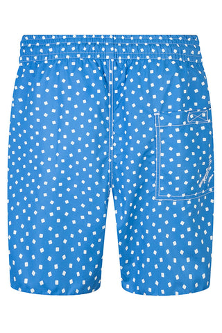 Blue with White Sqaure Swim Shorts