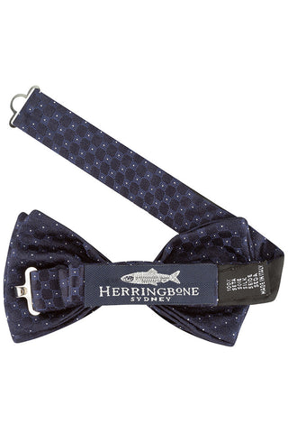 Navy Self Dot Bow Tie