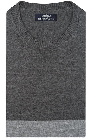 Two Tone Mid Grey Crew Neck Knit