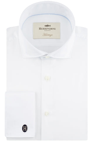 White Sateen with Semi Cut Away Collar