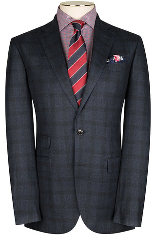 Navy Flannel Check Suit